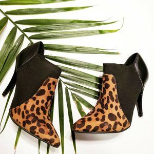 Anne Michelle Cheetah Print Pointed Toe Ankle Boot